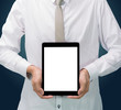 Businessman standing posture hand holding blank tablet isolated