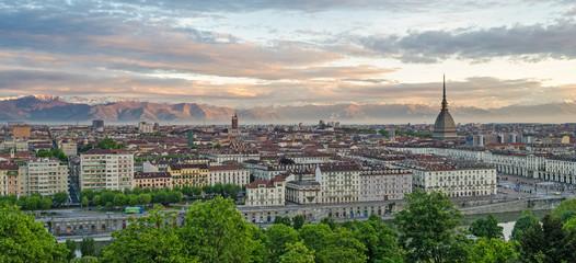 Turin (Torino), panorama at sunrise