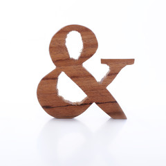 English alphabet ampersand symbol wooden