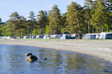 Motorhomes at campsite in Norway