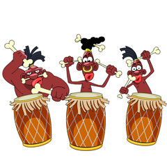 cartoon Papuan tribe Aboriginal drumming