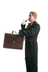 Magician with bag smoking a pipe