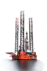 Photo of a Oil Rig isolated on white background.