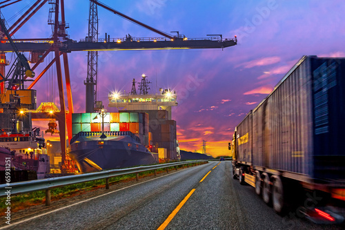 Truck transport container on the road to the port. - 65931251