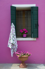 The colors of the walls of Burano, Venice, Italy