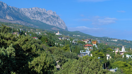 View on Ai-Petri Mount and Simeiz settlement in Crimea