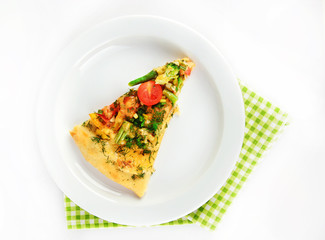 Slice of tasty vegetarian pizza on plate, isolated on white