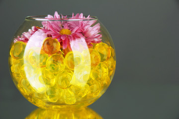Beautiful flowers in vase with hydrogel