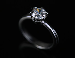 Beautiful diamond ring isolated on black