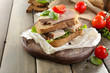 Delicious sandwiches with meet on table close-up