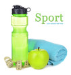 Sports bottle, apple,towel and measuring tape isolated on white