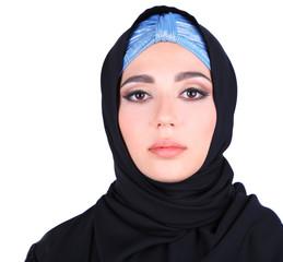 Beautiful muslim arabic woman on grey background