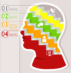 Infografico Idea pensiero mente filosofia testa lampadina