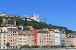 Vue sur la colline de Fourvière à Lyon