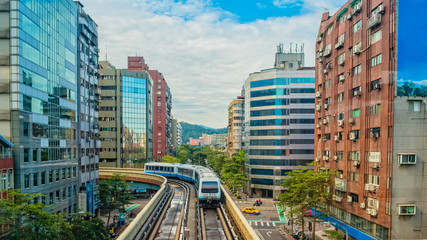 metro train on the way in Taipei