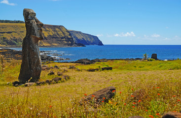Moai overlooking Coast, Rapa Nui - Easter Island, Chile