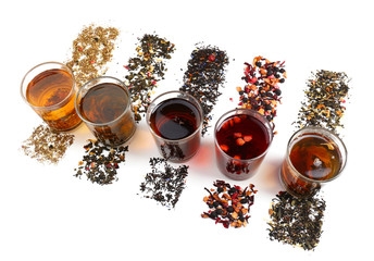 Assortment of tea isolated on white