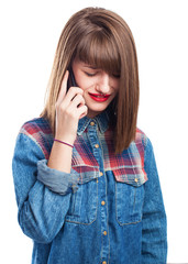 portrait of angried young woman  talking with mobile isolated on