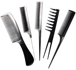 Professional combs isolated on white