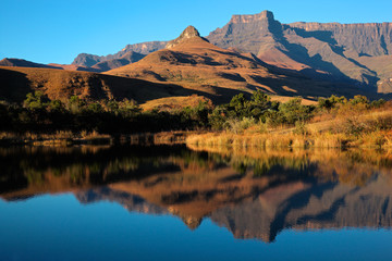 Sandstone mountains and reflection, Royal Natal National Park