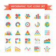 Vector Icons Set of Infographic in Flat Design Style