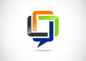 abstract speech bubble logo