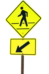 Crosswalk sign with a man walking on yellow flash isolated on wh