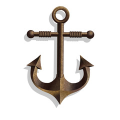 Metallic anchor, vector.