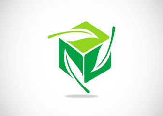 green leaf on cube logo