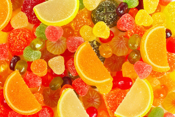 Background of colorful fruity sweets and jelly close up