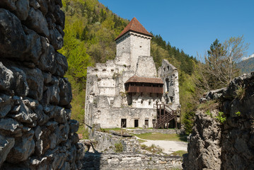 The 12th century ruined Kamen Castle, near Begunje, Slovenia