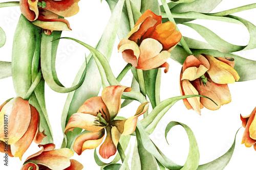 Tulips Seamless Pattern - 65938877