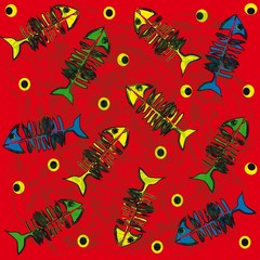 Blue green yellow fishbones on red background