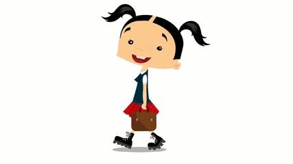 Schulmädchen mit Aktentasche - Animation