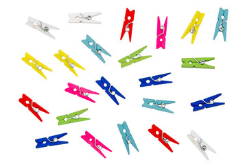 Colorful clothespins. Isolated on white