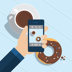 Flat design of coffee break and mobile phone