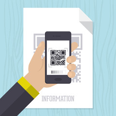 Flat design of QR code scanning with mobile phone