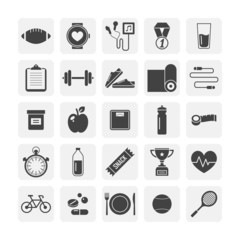 Flat icons for Fitness and Healthy lifestyle (black and white)