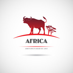 Label with the image of an African buffalo. Vector.