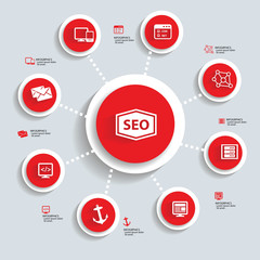 SEO Infographics design,red version,vector