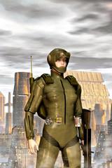 Futuristic military girl