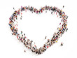Large group of people in the shape of a heart. - 65942081