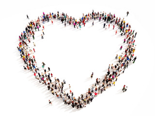 Large group of people in the shape of a heart.