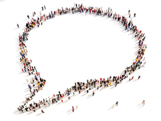 Large group of people in the shape of a chat bubble.