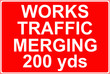 Works traffic merging sign