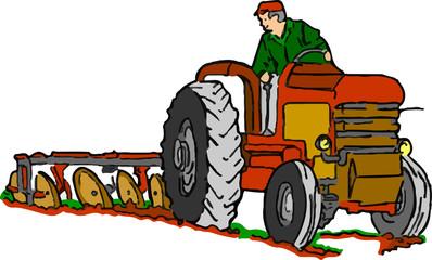trattore agricolo al lavoro