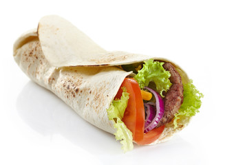 Wrap with meat and vegetables