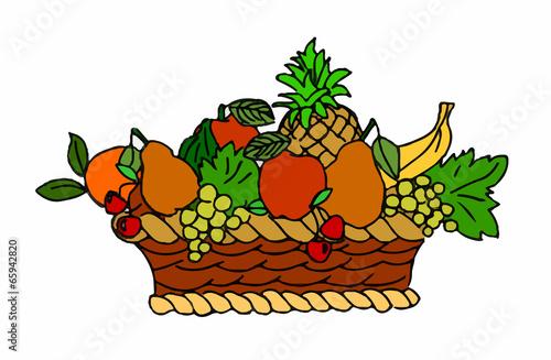 cesto di vimini con frutta