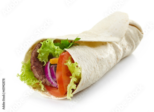 Plexiglas Snack Wrap with meat and vegetables