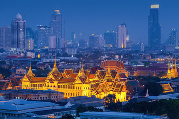 Grand palace at twilight in Bangkok, Thailand